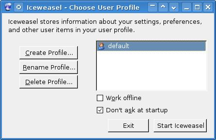 Captura Ventana: Firefox Profile Manager