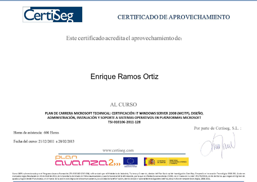 Diploma Curso Microsoft Windows Server MCITP