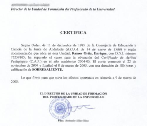 Certificado de Aptitud Pedagógica (CAP) - Formación Profesional para el Empleo (FPE)