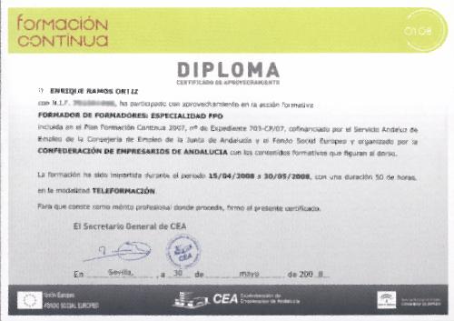 """Diploma curso """"Formador de formadores: especialidad FPO"""""""